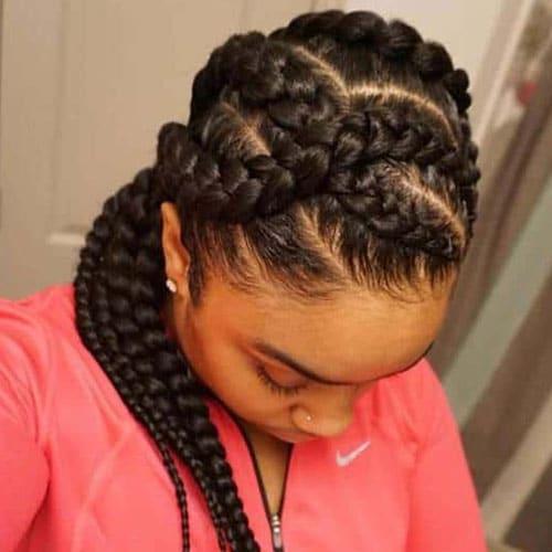 Criss cross goddess braids