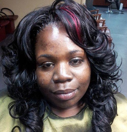 Layered burgundy tree braids