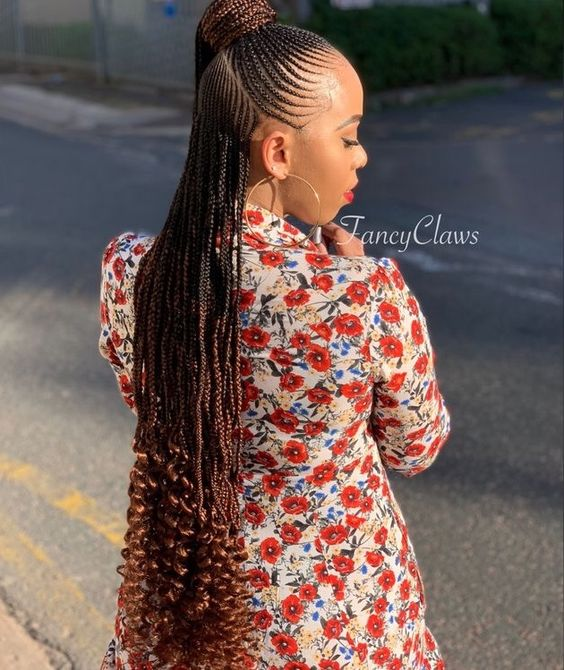 Long feed in cornrows with curly ends