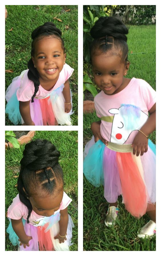 Natural Hairstyles For Little Girls Using Jumbo Hair And Braids.