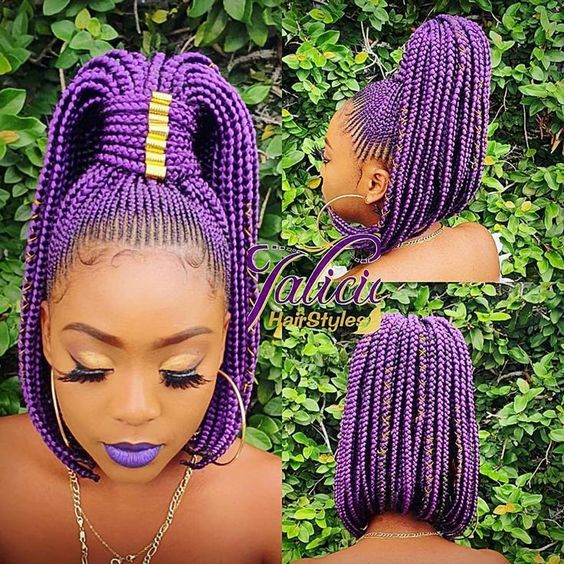 ProtectiveStyles on nstagram Purple Bobbed Ponytail jalicia hairstyles Model shvggie prot