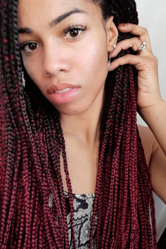 Red Ombre Box Braids Protective Style for Natural Hair