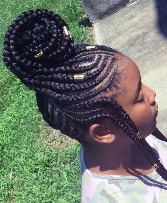 Unique Bun style with Cornrows and Beads