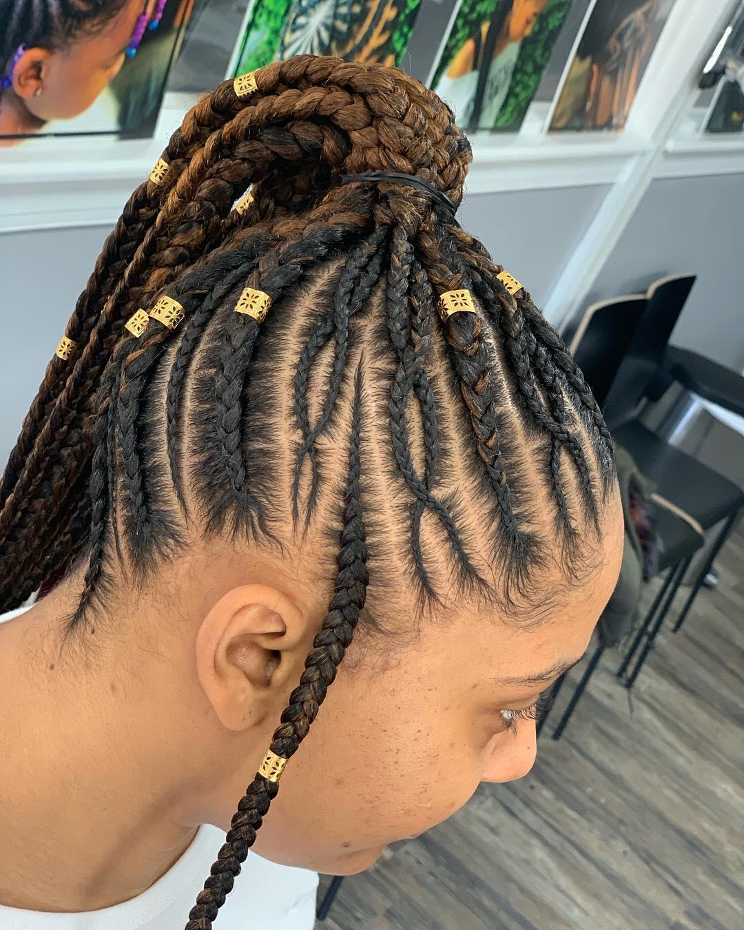 braided ponytail styles for black hair 12