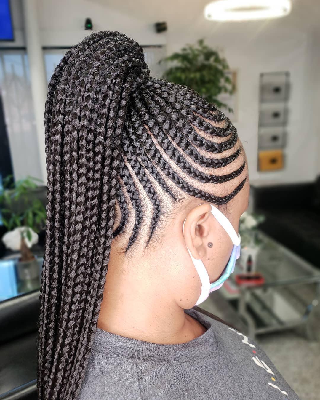 braided ponytail styles for black hair 6