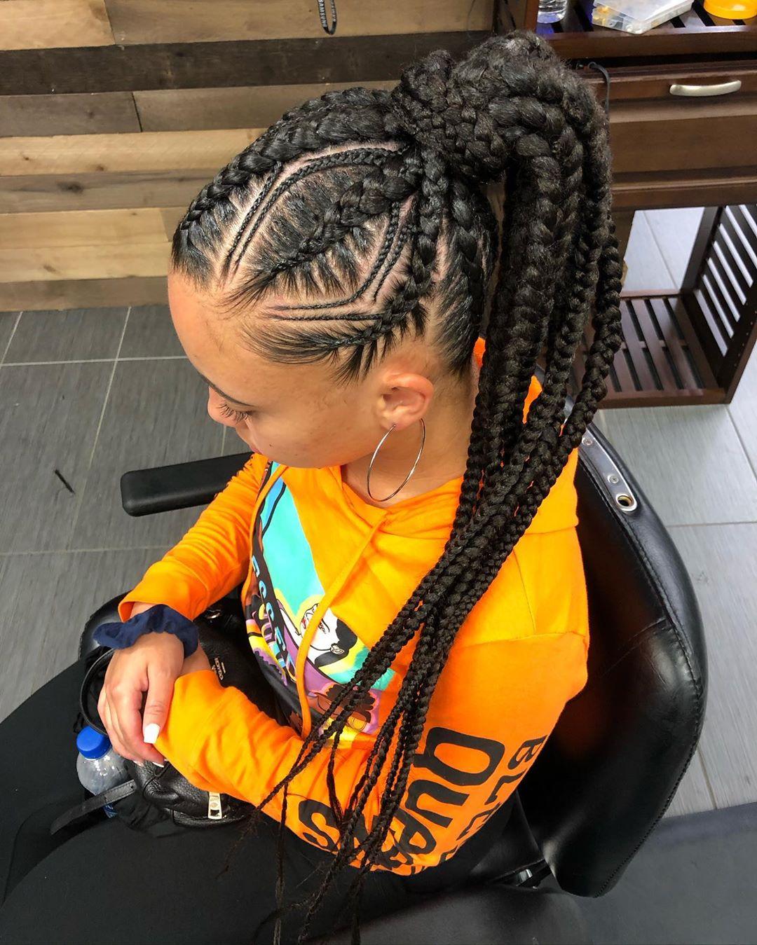 braided ponytail styles for black hair 7