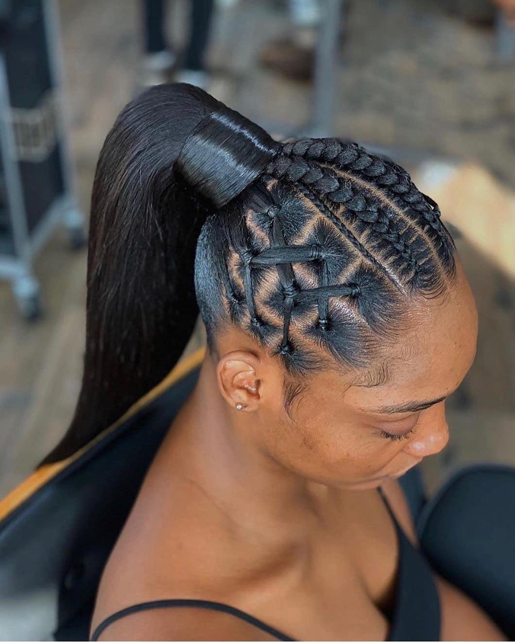 braided ponytail styles for black hair 9