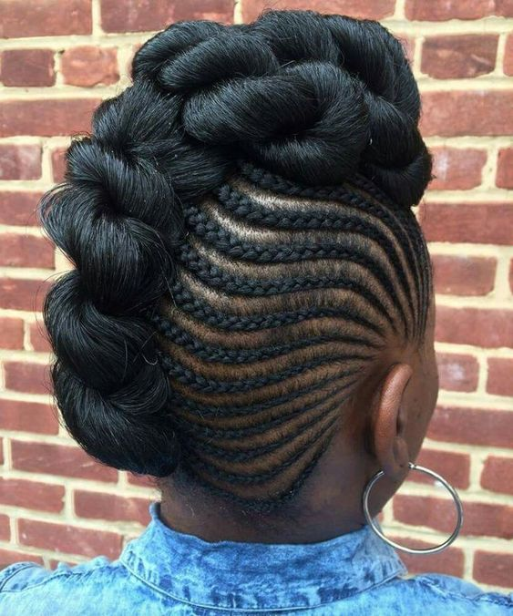 hair updo mohawk with side braids