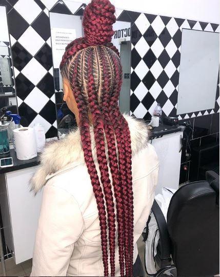 red cornrow braids ig hausofbraids