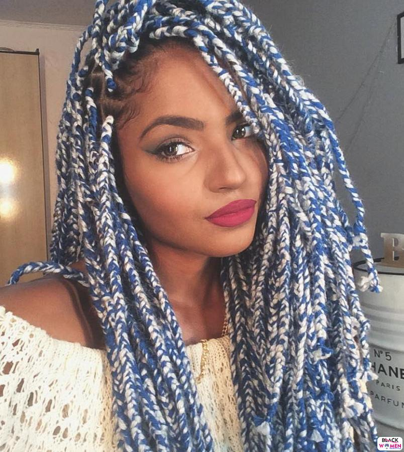 4 layered blue melange yarn braids