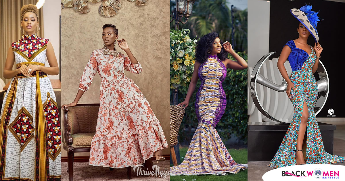 Ankara Long Gown Designs For Ladies, 60 Unique Ankara Dresses 2021