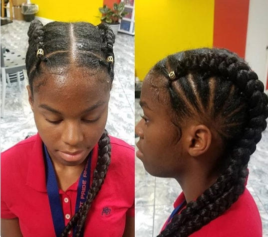 Center Parted Hairstyle With Thick Braids On Either Side