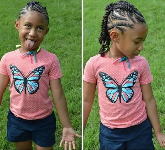 Unruly Cornrows With Thick Braided Tail