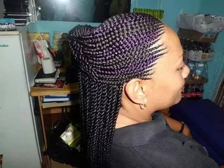 black and purple extension ghana weaving
