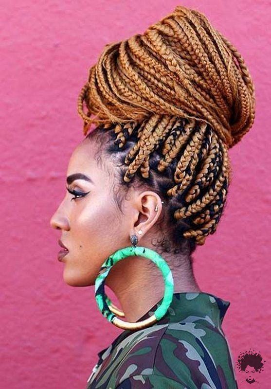 The Most Beautiful African Hair Braid Models You Can Use as a Bun 09