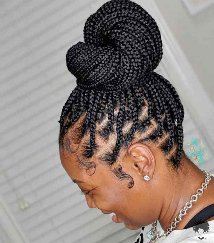 The Most Beautiful African Hair Braid Models You Can Use as a Bun 20