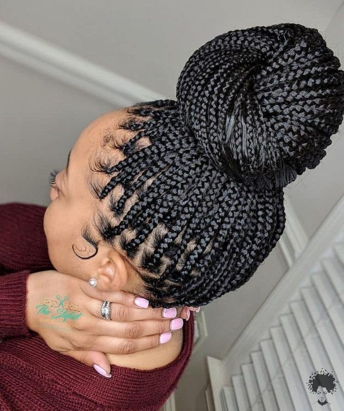 The Most Beautiful African Hair Braid Models You Can Use as a Bun 22
