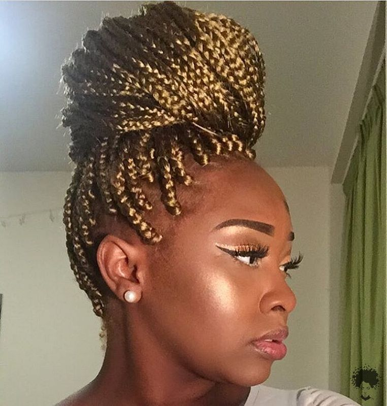 The Most Beautiful African Hair Braid Models You Can Use as a Bun 23