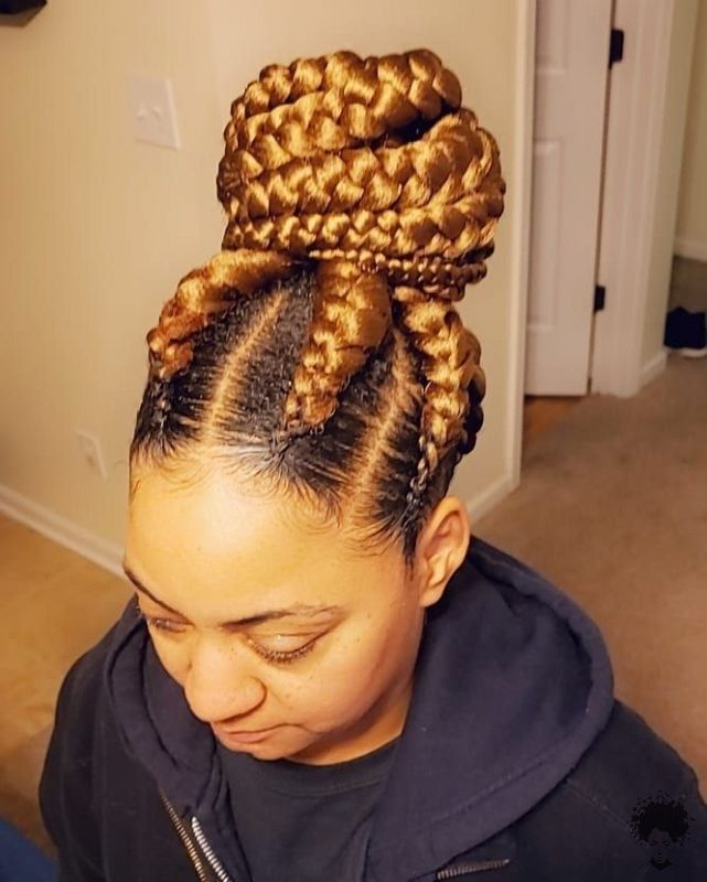 The Most Beautiful African Hair Braid Models You Can Use as a Bun 25