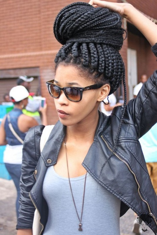 The Most Beautiful African Hair Braid Models You Can Use as a Bun 27
