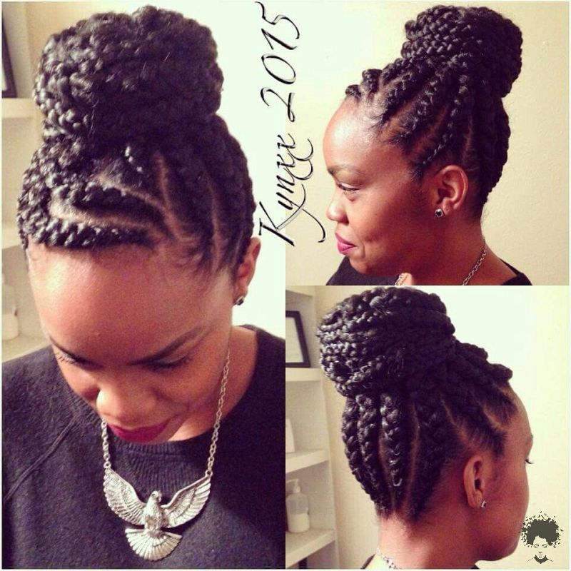 The Most Beautiful African Hair Braid Models You Can Use as a Bun 31