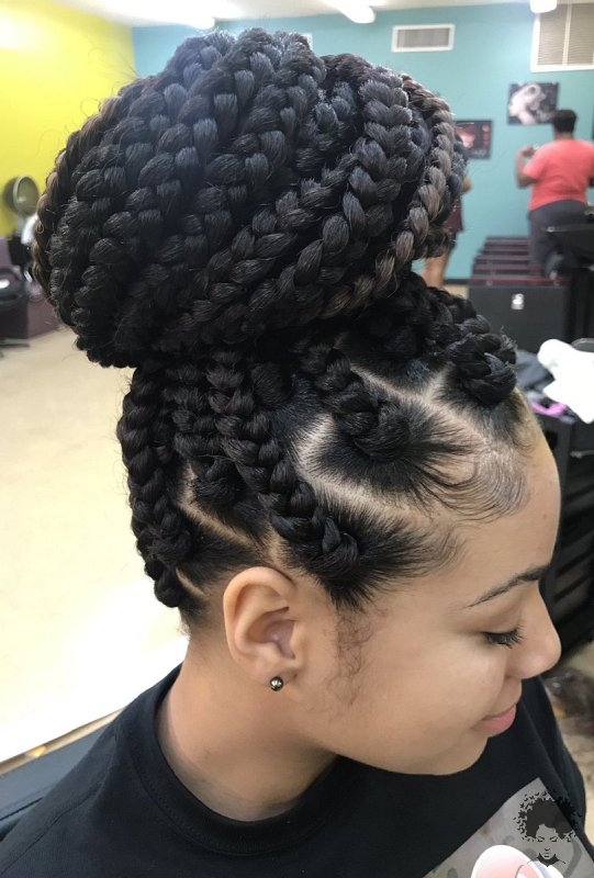 The Most Beautiful African Hair Braid Models You Can Use as a Bun 32