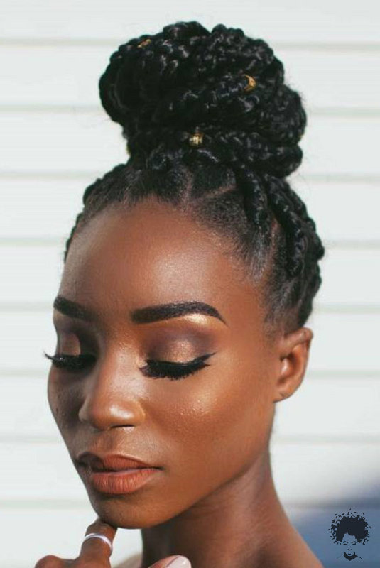 The Most Beautiful African Hair Braid Models You Can Use as a Bun 35