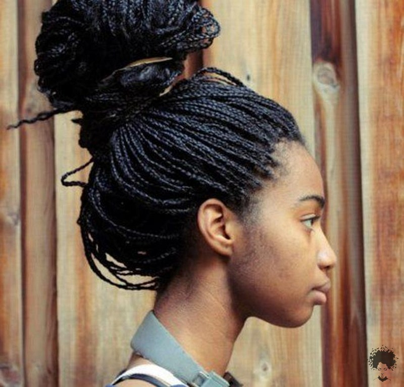 The Most Beautiful African Hair Braid Models You Can Use as a Bun 36