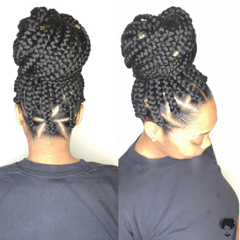The Most Beautiful African Hair Braid Models You Can Use as a Bun 38