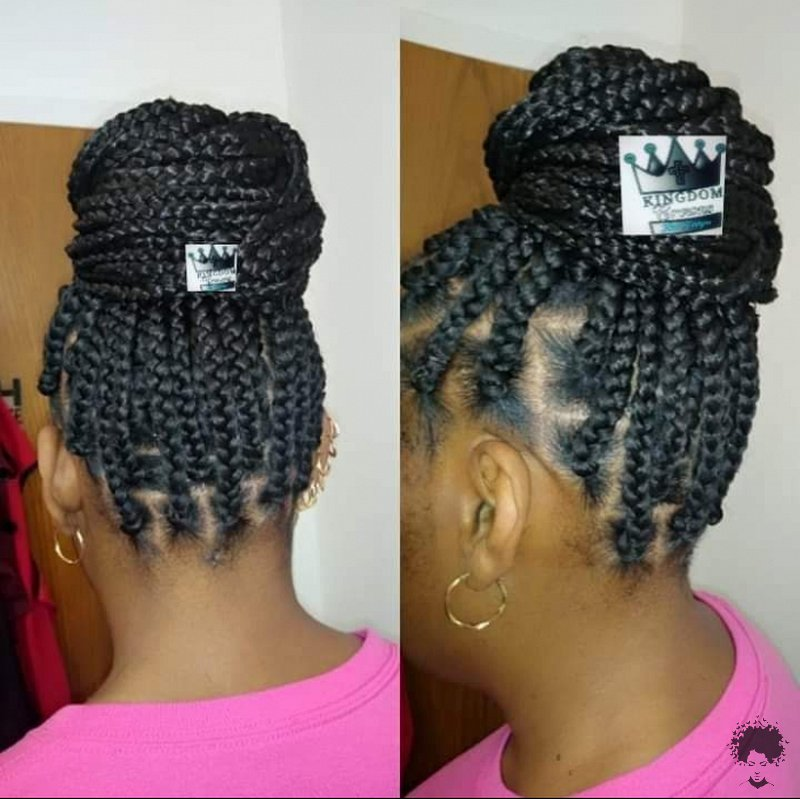 The Most Beautiful African Hair Braid Models You Can Use as a Bun 39