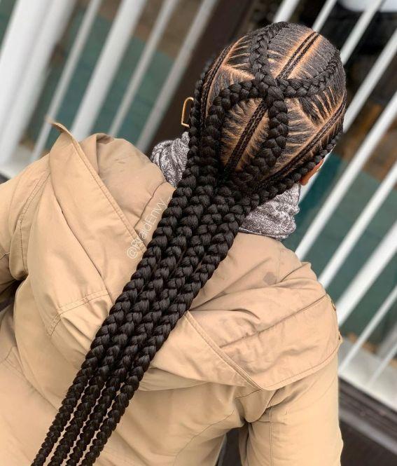 23 four cornrows with braids B