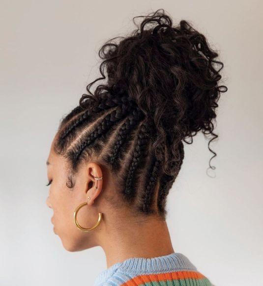 9 braids with curly bun B97EN65gE i